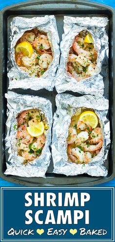 Baked Shrimp Scampi is tossed in a delicious garlic and butter white wine sauce, made in foil packets, and is healthy, low-carb, gluten-free and low-carb! Seafood Diet, Healthiest Seafood, Seafood On The Grill, Seafood Bbq, Seafood Meals, Baked Shrimp Scampi, Shrimp Scampi Recipes, Shrimp Bake, Shrimp Soup