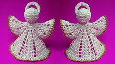 How To Crochet Christmas Angel - Crochet Ideas Thread Crochet, Crochet Crafts, Hand Crochet, Crochet Projects, Angel Ornaments, Diy Christmas Ornaments, Christmas Angels, Christmas Poinsettia, Crochet Angel Pattern