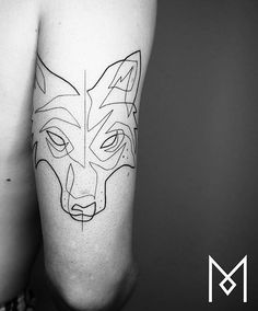 Geometric Line Art Wolf 45 Ideas Fox Tattoo, Wolf Tattoos, Feather Tattoos, Line Tattoos, Trendy Tattoos, Sleeve Tattoos, Tatoos, Tattoo Linea, Badass Tattoos