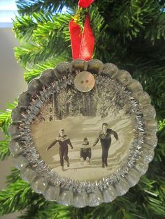 Vintage Christmas Retro style embellished large tin tart ornament with black and white sledding image, button, glitter accents design OOAK Farmhouse Christmas Ornaments, Christmas Tree Art, French Christmas, Christmas Mantels, Outdoor Christmas Decorations, Primitive Christmas, Retro Christmas, Diy Christmas Ornaments, Xmas Crafts