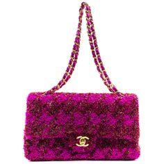 Chanel Vintage Medium Pink Tweed Flap Bag (€3.295) ❤ liked on Polyvore featuring bags, handbags, chanel, bolsas, borse, tweed purse, flap handbags, flap bag and pink bag