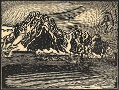 Nordic Art, Antique Paint, Wood Engraving, Woodblock Print, Modern Art, Contemporary, Landscape Art, Art Pictures, Printmaking