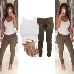 Inspired by this gorg look from @itserikadiaz ✔️ FashionUnion crop (sold out, @missguided and @kookai_australia have similar tops), Lucky Brand cargo pants ($80, currently out of stock) and Aquazzura heels ($535) xx