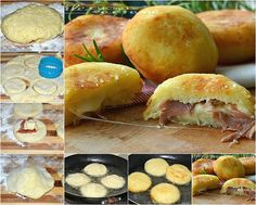 Bombs potatoes with ham and provolone quick recipe Greek Recipes, Fruit Recipes, Quick Recipes, Appetizer Recipes, Cooking Recipes, Kid Friendly Appetizers, Greek Cooking, Western Food, Creative Food