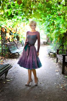 I sorta love the colors here. I'd have to mod the neckline to wear it myself… Knit Skirt, Knit Dress, Lace Dress, Lace Knitting, Knit Crochet, Crochet Wedding, Festival Dress, Beautiful Crochet, Crochet Designs