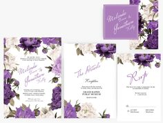 DIY Word Template Wedding Invitation Stationary Set | Editable Word Template | Instant Download  | DIY You print | Floral purple Peony by xoBSpoke on Etsy https://www.etsy.com/listing/271605540/diy-word-template-wedding-invitation