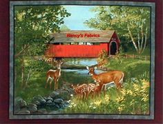 Covered Bridges Deer Cotton Quilting Fabric Panel Springs Creative Products