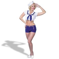 sailors in their bellbottoms | How to Flirt with Sailors During NYC Fleet Week - Marie Claire Sailor Outfits, Girly Outfits, Popeye Halloween Costume, Adult Halloween, Halloween Makeup, Halloween Ideas, Pin Up Girl Costume, Navy Costume, Sailor Costumes
