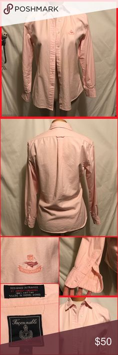 Dress career shirt button front Super cute and pink high quality dress shirt tho woman. Fits about a size 6. No damage or excessive wear. faconnable Tops Button Down Shirts