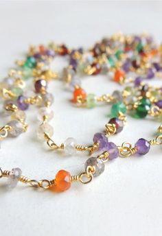 Arista Necklace with Mixed SemiPrecious Stones