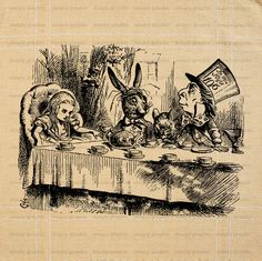 Mad Hatter Tea Party Instant Download Decoration Invitation Bridal Shower Alice in Wonderland Iron On Transfer Burlap Pillow b399