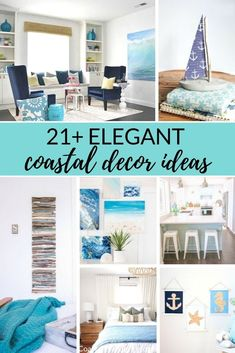 Here are elegant coastal decor ideas covering everything from color palettes to window treatments. There are even a handful of easy DIY beach decor projects included for extra inspiration! Diy Beachy Decor, Rustic Beach Decor, Beach House Decor, Coastal Decor, Beach Houses, Coastal Living, Diy Home Decor Projects, Easy Home Decor, Decor Ideas