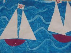 verf met plaksel en dan golven schrijven