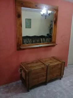 Espejo grande y cajon con palets