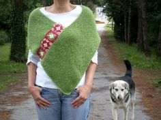 Hand Knitted Poncho Women Poncho with Afghan Motifs by bysweetmom, $69.00