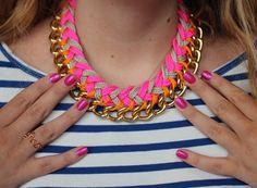 Neon chevron necklace /// 7 DIY Statement Necklaces