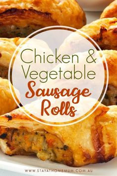 Chicken and Vegetable Sausage Rolls is a twist on the normal Sausage Rolls that everyone knows. Yummy finger foods nice and easy for entertaining! Healthy Sausage Rolls, Chicken Sausage Rolls, Homemade Sausage Rolls, Veggie Sausage, Thermomix Sausage Rolls, Easy Sausage Roll Recipe, Mince Recipes, Sausage Recipes, Baby Food Recipes