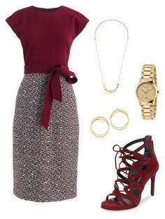 """""""Burgundy tweed dress - Work"""" by brittjade ❤ liked on Polyvore featuring Kenneth Cole, J.Crew, Gucci, Elizabeth and James and Diane Von Furstenberg"""