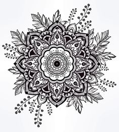 Hand Drawn Ornate Rose Flower With Leaf Crown. by itskatjas Hand drawn ornate rose flower in the crown of leaves and sticks. Fake Tattoos, Body Art Tattoos, New Tattoos, Tatoos, Design Mandala, Geniale Tattoos, Desenho Tattoo, Mandala Drawing, Mandala Artwork