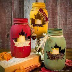 Fall mason jar crafts - 25 fall craft ideas using mason jars. Mason jar crafts for fall. Kids craft idea for fall. Fall decor using mason jars. Mason Jar Projects, Mason Jar Crafts, Mason Jar Diy, Coffee Jar Crafts, Diy Decoupage Mason Jars, Pickle Jar Crafts, Fall Mason Jars, Pickle Jars, Thanksgiving Crafts