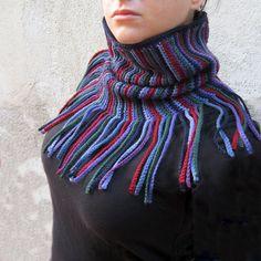 Crochet cowl neck warmer cowl fringe stripes wool folk hippie boho Christmas gift for her womens accessories multicolor burgundy blue  I