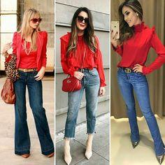 "184 Me gusta, 4 comentarios - S O N I A (@smsoniamenezes) en Instagram: ""#red #vermelho #sexta #friday #viernes #casualfriday #ootd #instafashionista #fashion #moda #denim…"""