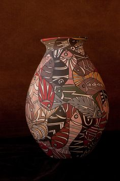 Pottery with fish design.