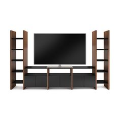 A movie buff's dream home theater system, the preconfigured Semblance Modular 5455-JF Media Center offers ample storage for AV components and a center channel speaker, gaming consoles and more. Additional media storage rests upon ventilated adjustable shelves, and concealed behind black satin-etched glass doors.