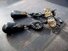 Deus ex Machina - OOAK artisan bronzed deep grey porcelain industrial wired wheel czech glass drop earrings