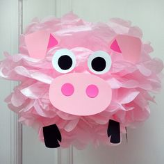 Items similar to Pink Pig - Tissue Paper Pom Pom Kit on Etsy Animal Themed Birthday Party, 9th Birthday Parties, Pig Birthday Cakes, Farm Birthday, Barnyard Party, Pig Party, Pig Baby Shower, Pig Crafts, Little Pigs