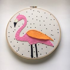 Embroidery Hoop Art, Wall Art, Pink Flamingo, Nursery room decor, Black and White Polka dots by nolaandvi on Etsy https://www.etsy.com/listing/275467154/embroidery-hoop-art-wall-art-pink