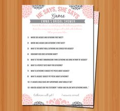 Printable: He Said, She Said Bridal Shower Game