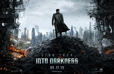 """Benedict Cumberbatch appears front and center in new """"Star Trek Into Darkness"""" one sheet, standing atop the burning rubble surveying the cityscape of a futuristic London. Is he Khan?"""