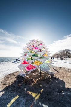 """""""Snow Cone"""" designed and built by #Toronto's Lily Jeon, Diana Koncan and Ryerson Architecture students for #winterstations #MadeInToronto"""