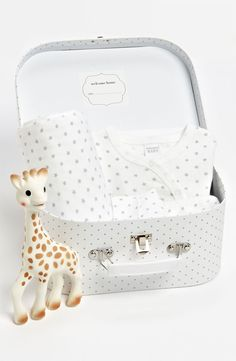 baby gift set in suitcase