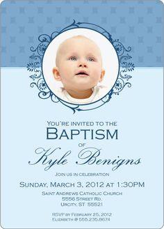 Dotted Blue Free Printable Baptism Christening Invitation
