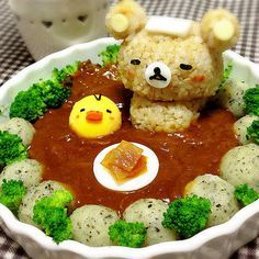 Rilakkuma&Kiiroi-tori relaxed in a bath (brown rice curry) Bento Recipes, Baby Food Recipes, Cooking Recipes, Japanese Food Art, Japanese Dishes, Cute Food, Good Food, Yummy Food, Eat This