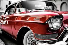 What guy doesn't like a vintage classic old red mint condition cadillac, Man cave approved art. Ideas for Man cave art work, wall hangings, posters and prints. Designed by Roxanne Lavelle and John Royal of Graffiti Bridge