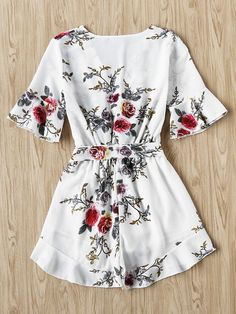 Floral Print Random Wrap Front Romper With Belt Simple Outfits For School, Cute Summer Outfits, Outfits For Teens, Chic Outfits, Trendy Outfits, Dress Outfits, Fashion Outfits, Cute Dresses, Vintage Dresses