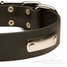 Leather dog collar with id tag - C456  Starting at: $23.90