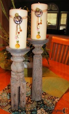 DIY Porch Post Candlesticks - The Flying C