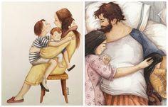 16 ilustrácií, ktoré zachytávajú každodenné rodinné šťastie Painting, Painting Art, Paintings, Painted Canvas