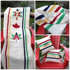My Canada 150 Project ready for summer celebrations!     I designed this with a lot of research on HBC point blankets and the help of a couple Paper Piecing patterns.    The paper piece side will be the back after 2017. Paper piece design from top is mine (Canada 100),  Monica Curry (Maple Leaf) and Dana Szucs Hayden (Canada 150). Paper Piecing Patterns, Quilt Patterns, Canadian Quilts, Quilts Canada, Denim Quilts, Cushions To Make, Canada 150, Quilt Of Valor, Leaf Crafts