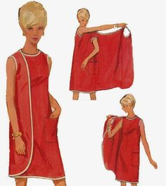 I have been fascinated by these dress pattern, looks so so cute, and only one pattern piece – so little sewing, and in the 60s quite a few pattern companies did different variations of this d…