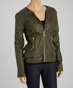 Another great find on #zulily! Olive Tiered Scoop Neck Faux Leather Jacket by Dollhouse #zulilyfinds