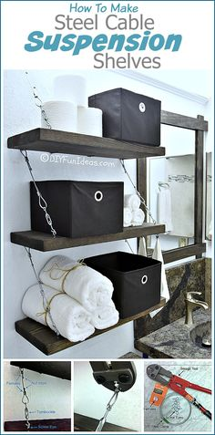 These steel cable suspension shelves are amazing. The hardware adds so much to them and I'm loving the industrial feel. .......one of the most popular pins