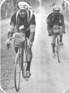 Alcyon teammates François Faber (left) and Gustave Garrigou - Tour de France 1910