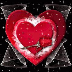 Imagen de amor de corazones y rosas con brillo y movimiento corazón y rosa brillantes