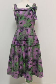 Vintage 1950s swing print dress with black piping 100% cotton size M on Etsy, $70.00