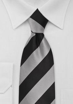 Krawatte gestreift schwarz silberfarben